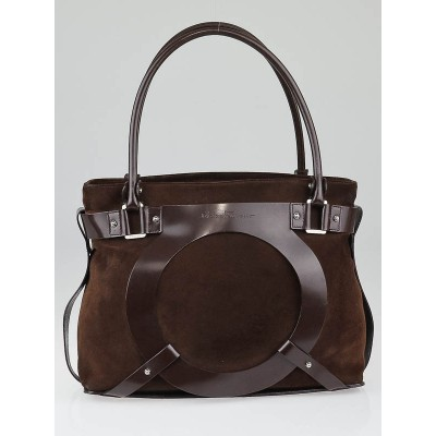 Salvatore Ferragamo Brown Suede Gancini Logo Tote Bag