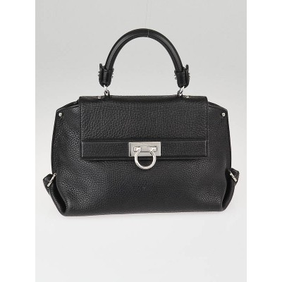 Salvatore Ferragamo Black Pebbled Calfskin Leather Small Sofia Bag