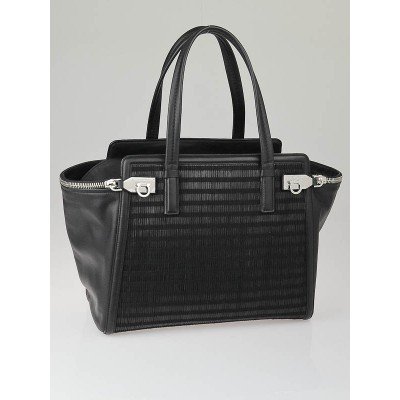 Salvatore Ferragamo Black Woven Leather Large Verve Tote Bag