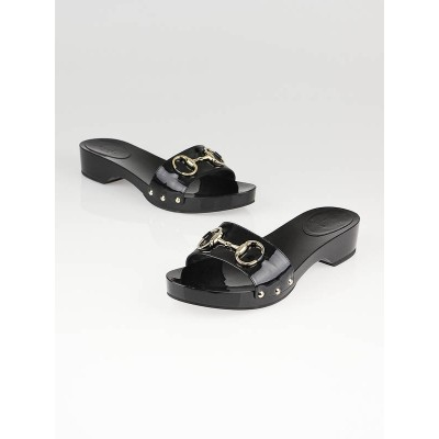 Gucci Black Patent Leather Horsebit Wooden Slides Size 7.5/38