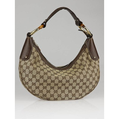 Gucci Beige/Ebony GG Canvas Bamboo Ring Hobo Bag