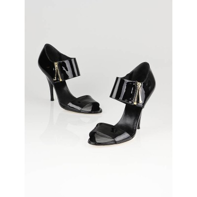 Gucci Black Patent Leather Open Toe Sandals Size 9.5/40