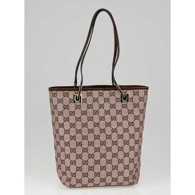 Gucci Beige/Brown GG Canvas Small Bucket Tote Bag