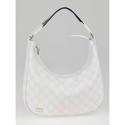Gucci White GG Coated Canvas Small Shoulder Bag