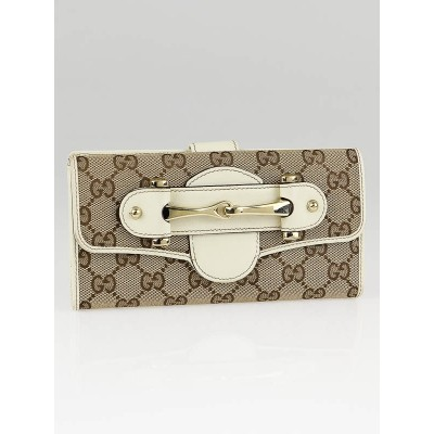 Gucci Beige/Ebony GG Canvas Pelham Long Wallet