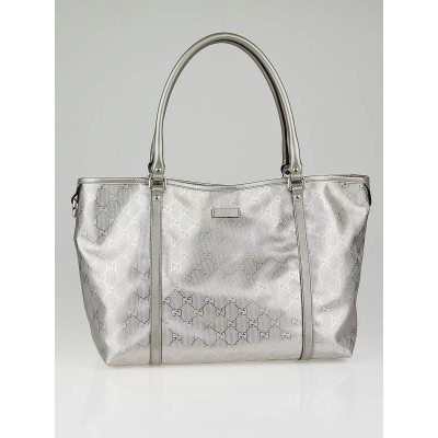 Gucci Metallic Silver GG Coated Canvas Joy Medium Tote Bag