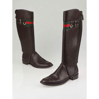 Gucci Cocoa Leather 'Gucci Heritage' Flat Riding Boots Size 7.5/38