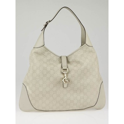 Gucci White Guccissima Leather Jackie O Bouvier Large Hobo Bag