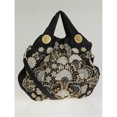 Gucci Black Leather Floral Embroidered Hysteria Large Top Handle Bag
