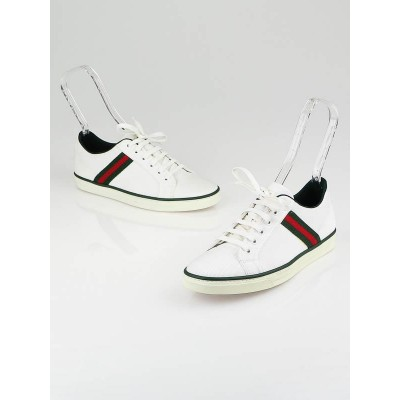 Gucci White Canvas and Classic Web Sneakers Size 8.5B