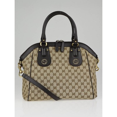 Gucci Beige/Ebony GG Canvas Scarlett Medium Top Handle Bag