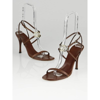 Gucci Brown Leather Interlocking GG Strappy Sandals Size 10B