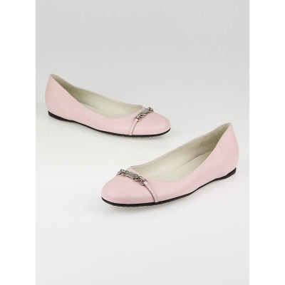 Gucci Pastel Pink Leather Horsebit Flats Size 7.5/38