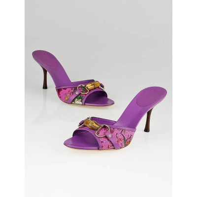 Gucci Purple Floral Canvas Bamboo Horsebit Open-Toe Mules Size 10/40.5