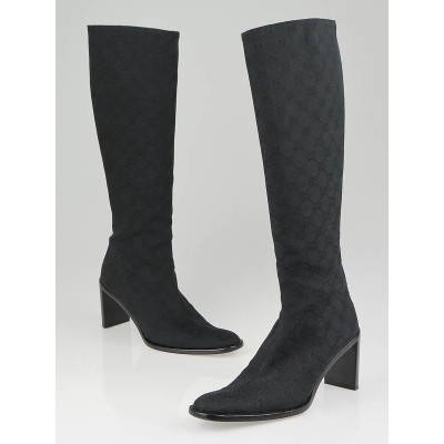 Gucci Black GG Canvas Knee-High Boots Size 9.5B