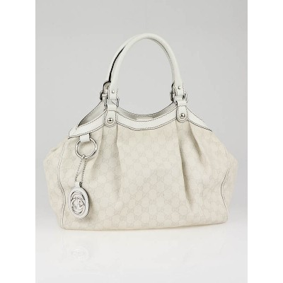 Gucci White GG Canvas Sukey Medium Tote Bag