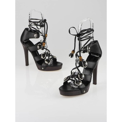 Gucci Black Leather Horsebit Strappy Ankle Wrap Sandals Size 9.5/40