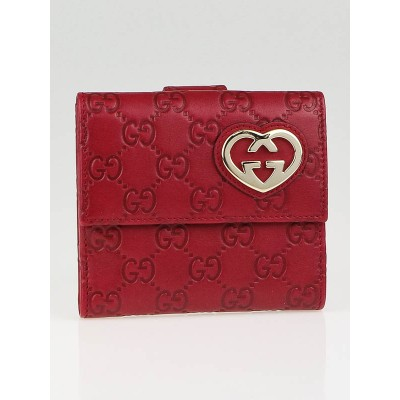 Gucci Red Guccissima Leather Interlocking G Heart Compact Wallet