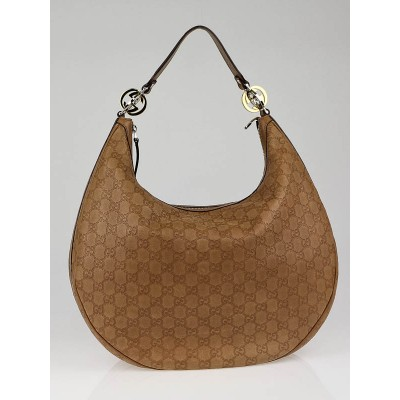 Gucci Tan Guccissima Leather GG Twins Large Hobo Bag