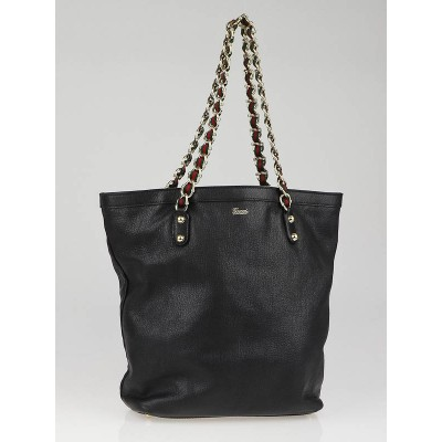 Gucci Black Leather Capri Chain Large Tote Bag