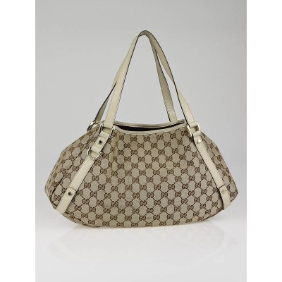 Gucci Beige/White GG Canvas Medium Abbey Tote Bag