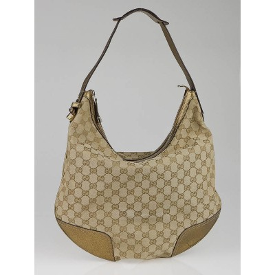 Gucci Beige/Gold GG Canvas Princy Hobo Bag