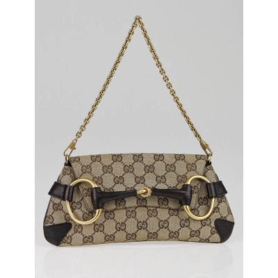 Gucci Beige/Ebony GG Fabric Horsebit Chain Clutch Bag