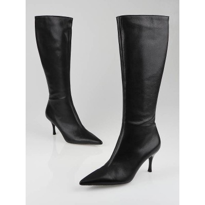 Gucci Black Leather Tall High-Heel Boots Size 7.5