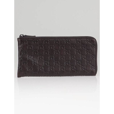 Gucci Dark Brown Guccissima Leather Long Zip Pouch