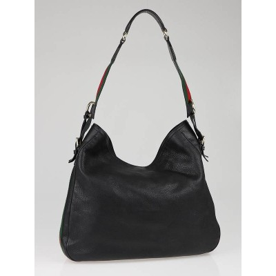 Gucci Black Leather Heritage Medium Shoulder Bag