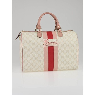 Gucci White/Pink GG Coated Canvas Vintage Web Stripe Medium Joy Boston Bag