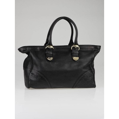 Gucci Black Leather and Guccissima Embossed Signoria Medium Tote Bag
