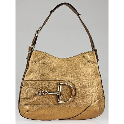 Gucci Gold Pebbled Leather Horsebit Shoulder Bag