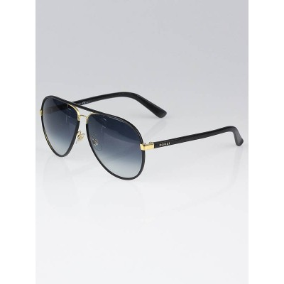 Gucci Black Leather Covered Aviator Sunglasses-2887/S