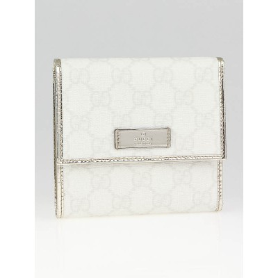 Gucci White GG Coated Canvas Mini Flap French Wallet