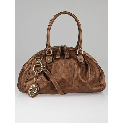 Gucci Bronze Guccissima Leather Sukey Boston Bag