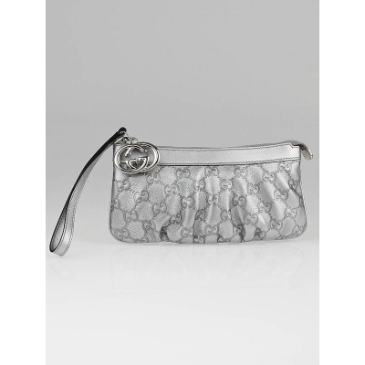 Gucci Silver Guccissima Leather Wristlet Pochette Bag