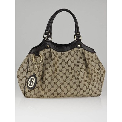 Gucci Beige/Ebony GG Canvas Sukey Medium Tote Bag