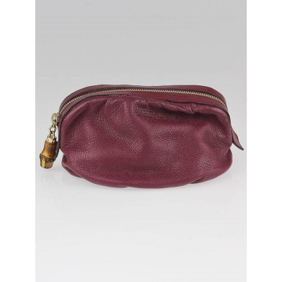 Gucci Dark Red Leather Medium Cosmetic Pouch