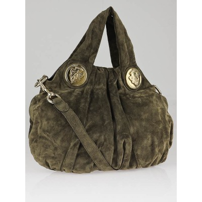 Gucci Brown Suede Small Hysteria Top Handle Bag