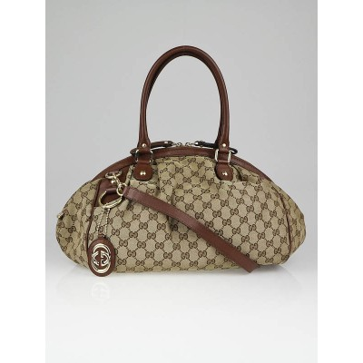 Gucci Beige/Brown GG Canvas Sukey Boston Bag