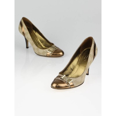Gucci Beige/Gold GG Canvas Cap-Toe Bow Pumps Size 5/35.5C