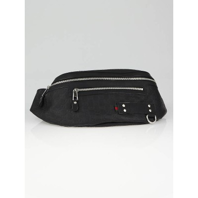 Gucci Black Guccissima Embossed Coated Canvas Waist-Belt Bag