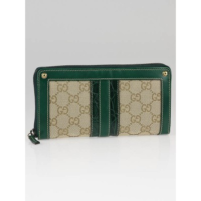 Gucci Beige GG Canvas Green Crocodile Trim Long Zippy Wallet