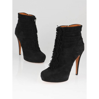 Gucci Black Suede Ruffle 'Youma' Platform Ankle Booties Size 8.5/39