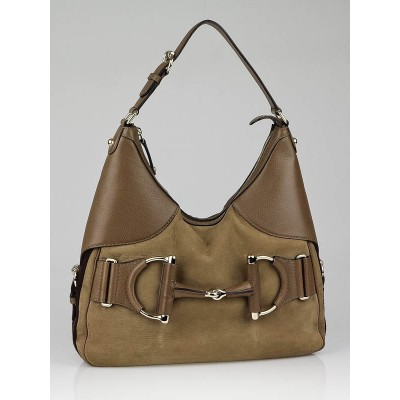 Gucci Taupe Nubuck Leather Heritage Horsebit Hobo Bag