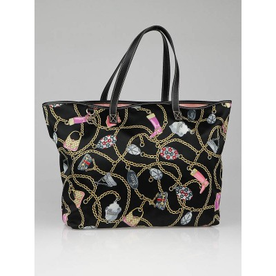 Gucci Black Multicolor Satin Gucci Charms Large Tote Bag