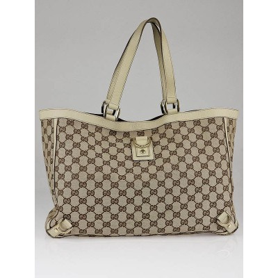 Gucci Beige/White GG Canvas Abbey Large Tote Bag