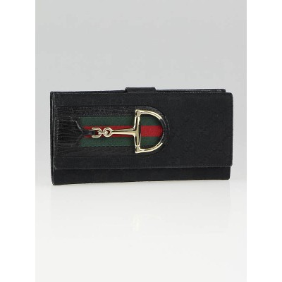 Gucci Black GG Canvas Vintage Web Horsebit Long Flap Wallet