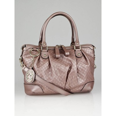 Gucci Metallic Pink Micro Guccissima Leather Sukey Top Handle Bag